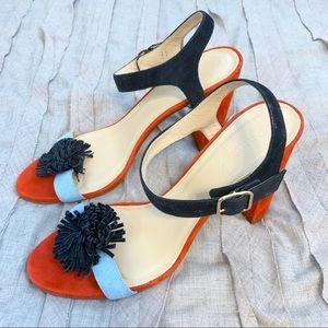 J. Crew Colorblock Sandal Heels with Pom Poms 9.5